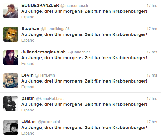 Screenshot von Krabbenburger-Tweets